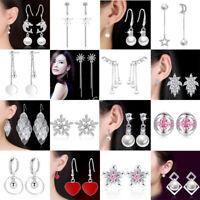 Korean Women 925 Sterling Silver Pearl Dangle Wedding Jewelry Earrings Xmas Gift