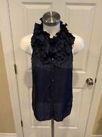 J. Crew Navy Blue Silk Ruffle Collar Sleeveless Top, Size 2