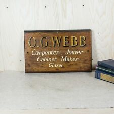 Vintage Trade Sign - Wooden Carpenters Hand-Painted Trade Sign 1950s