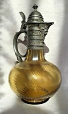 More details for antique victorian bacchus satyr mask pewter & swirled amber glass claret jug
