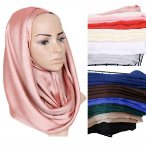Muslim Silk Scarf Shawl Headwear Women Satin Hijab Long Scarves Wrap Ladies Cape