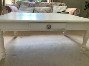 Large rectangular painted wooden coffee table