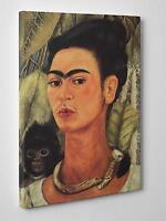 Frida Kahlo Autoritratto con Scimmia Quadro Stampa su Tela Vernice Pennellate