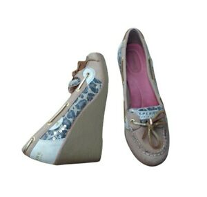 Sperry Top Sider Goldfish Wedge Boat Shoes Size 9 Leopard Sequin Leather Beige