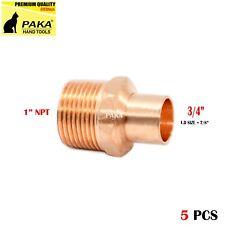 "3/4"" C x 1"" Male NPT Threaded Copper Adapters (5 PCS )"