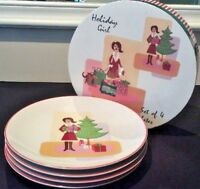HOLIDAY GIRL SET OF 4 DESSERT PLATES DESIGNED BY MARY KOBER WENDOVERLANE in box