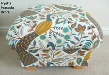 Fryetts Peacocks Ochre Fabric Footstool Footstall Pouffe Birds Mustard Accent