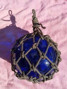 Hemp Roped Japanese Cobalt Blue Glass Fishing Net Floats Bouy Ball Large Vtg