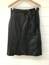 NWT FRENCH CONNECTION Black Faux Leather Knee Length Wrap Skirt - Size 10