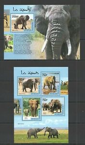 TG407 2014 TOGO FAUNA WILD ANIMALS ELEPHANTS  KB+BL MNH