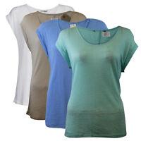 Womens Ladies Ex Store White Navy Blue Linen Slub Top Blouse Shirt 6-24