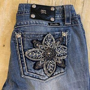 Miss Me Plus Size Womens Thick Stitch Jeans Signature Boot Rhinestone 32 (35X32)