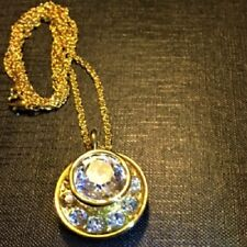 """Crystal Pendant 30"""" Necklace Chain Box Hsn Yellow Gold Plate Coffee Break Large"""