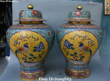 "19 ""China Cloisonne Emaille vergoldete Baum Pfingstrose Vögel Topf Jar Vase Paar"