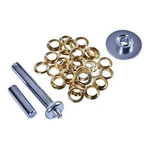 """30 x 13mm 1/2"""" Tarpaulin Tent Eyelet Hole Repair Kit Punch Brass Coated Grommets"""