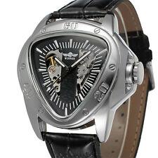 Winner New Triangle Skeleton Automatic Mechanical Leather Men Sport Watch Black