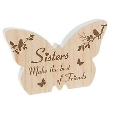 Wooden Sentiment Gift - Butterfly Shape Plaque / Sign - Sisters