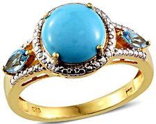 Arizona Sleeping Beauty Turquoise, Electric Blue Topaz Ring Size 10 TGW 4.10 Cts