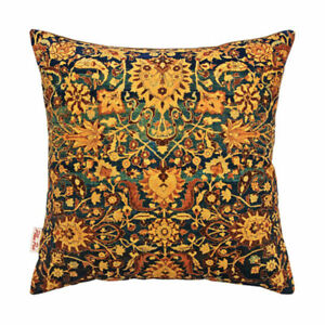 """Persian Rug Inspired Gold Green Blue Cushion Cover 43x43cm -16""""x16""""-50%OFF"""