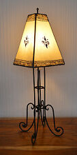 Plain Moroccan Henna Bedside / Table Lamp- square Shade- Cream60CM