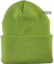 MADE IN USA Knit  Cap Cuffed long Beanie Hat Hats Lime Green Winter or Baby Blue