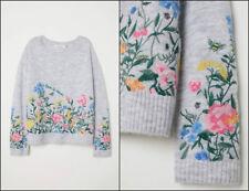 H&M Floral Bordada Suéter Jersey Con Bordado Floral Bordado