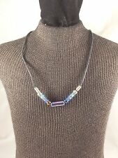 """Surfer Style 17"""" Black Waxed Cord Necklace with Blue Glass Beads"""