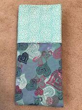 Flannel Teal Hearts Pillowcase -  handmade, cotton, standard size