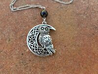 Owl Crescent Moon Pentacle Celtic Knot Silver Necklace  pagan witch witchcraft