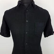 HUGO BOSS ORANGE Mens Casual Shirt XS Short Sleeve Black Regular Fit  Linen
