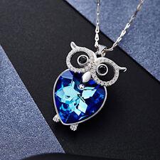 Eule Halskette Owl Collier Anhänger mit Swarovski Kristallen Herz 18K Weißgold