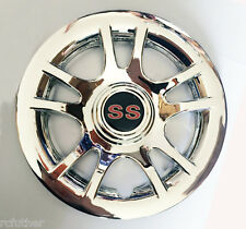 """GOLF CART Chrome Hub Cap fits 8"""" Wheel New Set of 4 Caps Covers SS red in center"""
