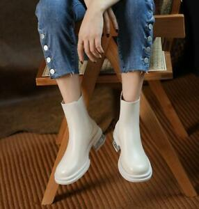 Women's Real Leather Ankle Boots Round Toe Casual Block Heel White Shoes Winter