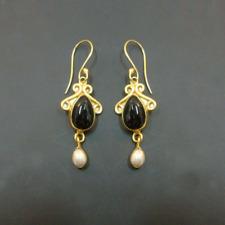 Wow Black Onyx Or Pearl 925 Sterling Silver Designer Fine Earrings Jewelry