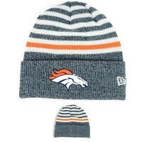 Denver Broncos NFL Cuffed Knit Winter Beanie Hat, Striped, New Era