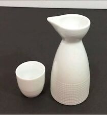 """World Market Small Pitcher & Sake Cup Creamer White Check Embossed Accents 5.5"""""""