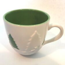 Starbucks Holiday 2006 Cup Mug White Embossed Sled Ride Trees With Green Trees