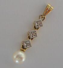 Nice★ Brillant Anhänger in aus 585 Gold mit 0,09 ct. Diamant Perle Pendant pearl