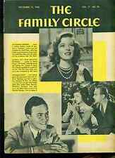 FAMILY CIRCLE magazine November 15 1940 Katharine Hepburn Myrna Loy cover photos