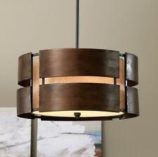 Walnut Wood Mid Century Chandelier Rustic Pendant Modern LightingFixture 3 Light