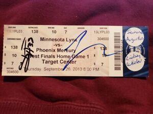RARE Lyndsay Whalen & Seimone Augustus AUTO'D 2013 Playoff Ticket Minnesota Lynx
