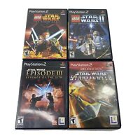 Lot Of 4 Star Wars PS2 Games- Lego Trilogy, Starfighter, Ep. 3 Revenge CIB