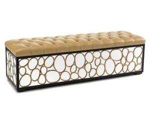 """67"""" L Bench Circular Gold Leaf Cutouts Mirrored Sides Tufted Leather Seat"""