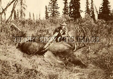 ANTIQUE REPRO 8X10 PRINT OF FAMED MICHIGAN BOWHUNTER FRED BEAR WITH MOOSE > #2
