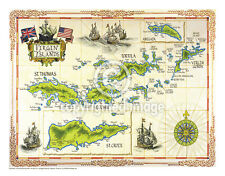 "19.5 x 25"" US Virgin Islands Vintage Look Map Printed on French Parchment Paper"