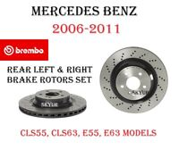For Mercedes E63 C63 CLS63 AMG Set of 2 Rear Brake Disc Rotor Brembo 09.A822.11