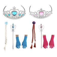 Princess Elsa Dress Up Snow Queen Costume Disney 4 Pieces Crown Wig Wand Gloves