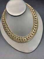 """Vintage Wide Bright Gold   Nice Quality Chunky  Detailed Link Necklace 17"""""""