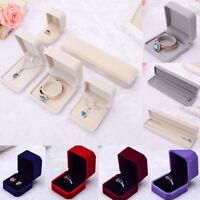 Velvet Engagement Wedding Earring Ring Pendant Bracelet Jewelry Display Box AU