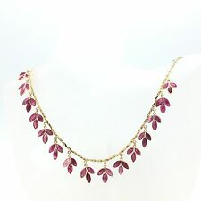 14k Solid Yellow Gold Leaves Shape Natural Ruby Necklace